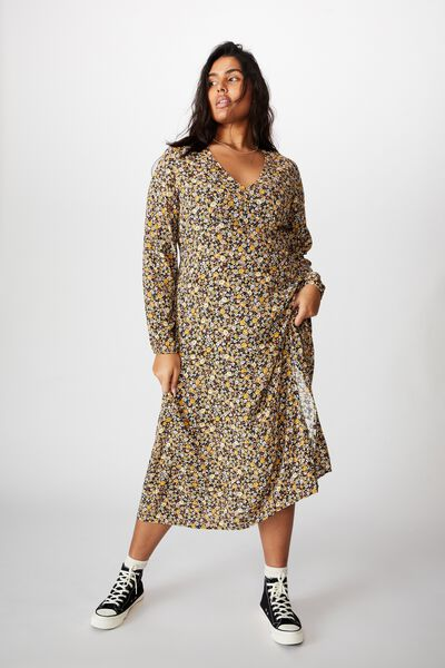 Curve Madie Midi Dress, LIZ MULTI FLORAL BLACK