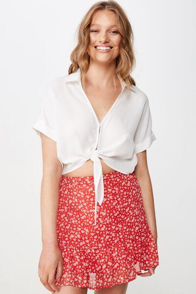 Woven Jordana Mini Skirt, HAVANA DITSY RED