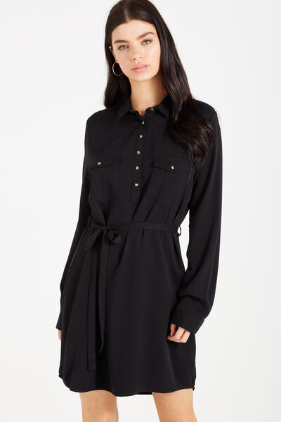 Woven Tammy Long Sleeve Shirt Dress, BLACK