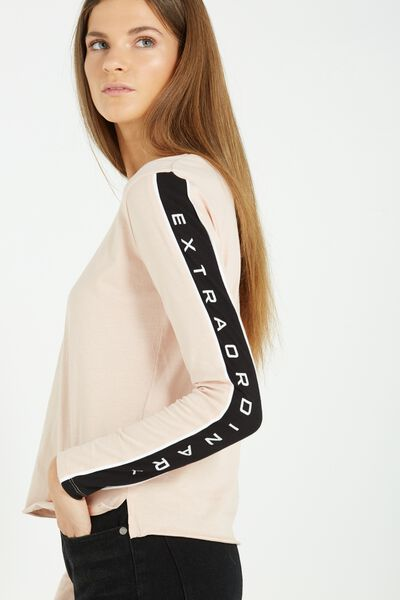 Tbar Long Sleeve Graphic Chop Tee, EXTRAORDINARY/MISTY PINK