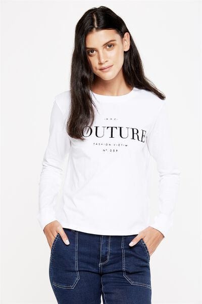 Tbar Tammy Chopped Graphic Long Sleeve Tee, COUTURE/WHITE