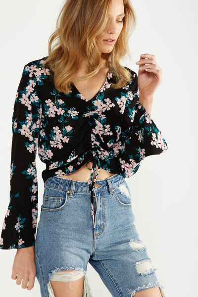 Madeleine Rouched Blouse, CHERRY BLOSSOM BLACK