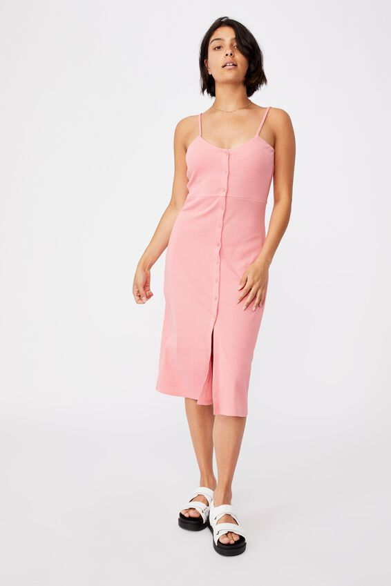 Jillian Button Through Midi Dress, STRAWBERRY SORBET