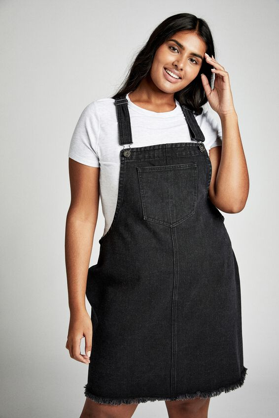 Curve Classic Denim Pinafore, WASHED BLACK