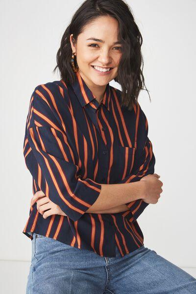 Rebecca Chopped Shirt, SALMA STRIPE DARK SAPPHIRE