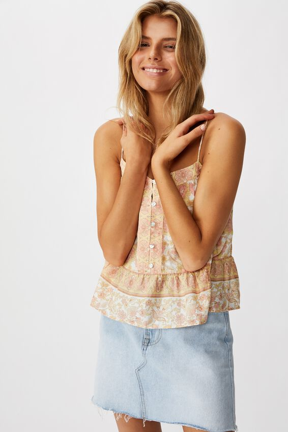 Day Dreamer Button Front Cami, SUNDAY FLORAL BORDER APRICOT ICE