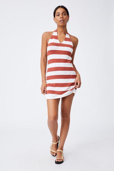 Gemma True Knit Halter Mini Dress, SULLY RESORT STRIPE WARM BRONZE