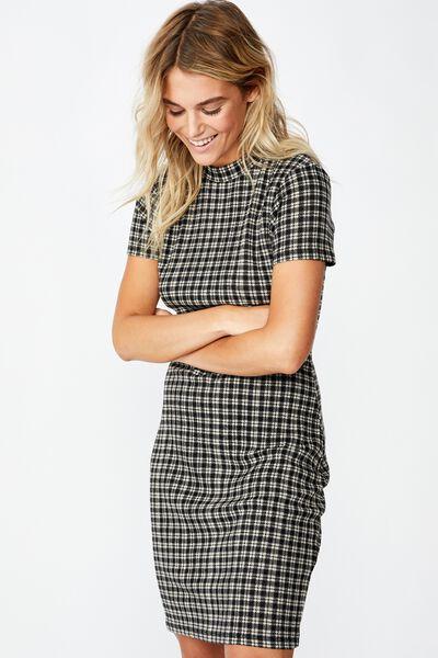 Toby S/S Mini Dress, ISSY CHECK BLACK LARGE RIB