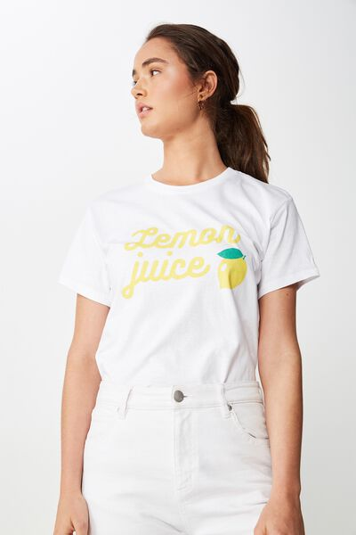 Tbar Fox Graphic T Shirt, LEMON JUICE/WHITE
