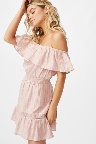 Woven Olivia Off The Shoulder Dress, MISTY ROSE