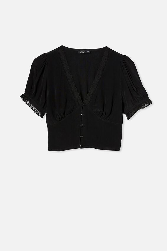 Lace Trim Short Sleeve Blouse, BLACK