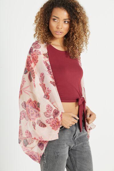 Trixy Cocoon Kimono, KUTA FLORAL PEACH BLUSH