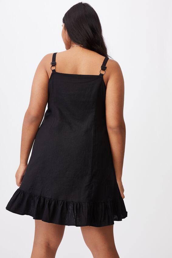 Curve Woven Tara Frill Hem Mini Dress, BLACK