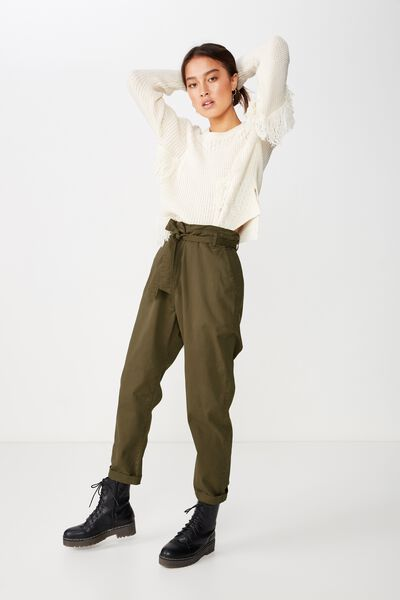 468b52cf61 Casey Paperbag Chino, BURNT OLIVE. Cotton On Women