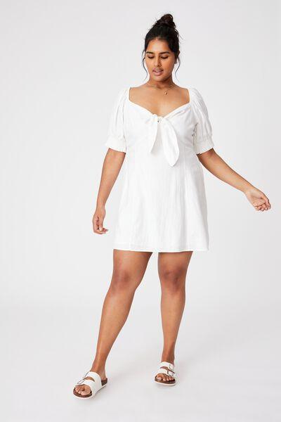 Curve Woven Charlie Tie Front Mini Dress, WHITE