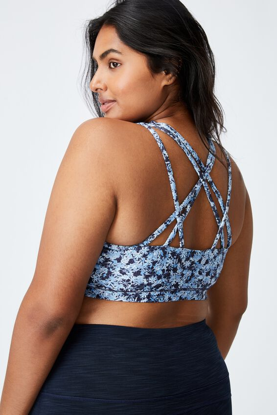Curve Strappy Sports Crop, SUMMER BLOOM NAVY