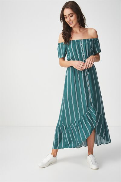 Woven Willa Off The Shoulder Dress, LOLA STRIPE TREKKING GREEN