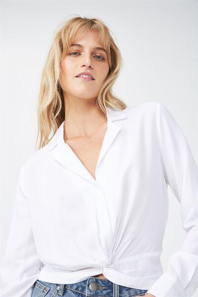Whitney Twist Front Blouse, WHITE