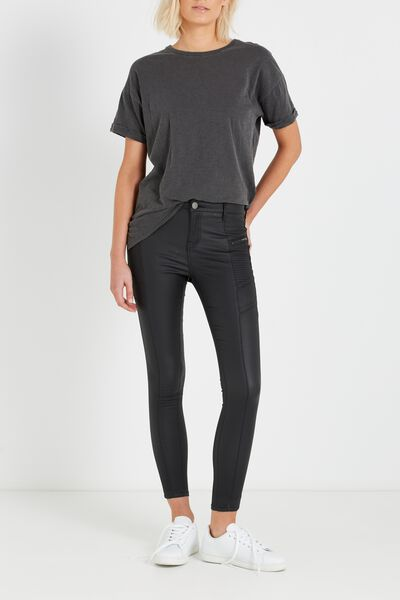 Mid Rise Deluxe Skinny Jean-Coated, BLACK PANEL 2