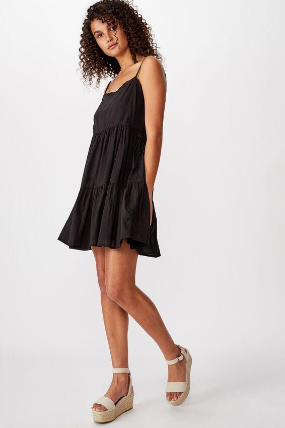 Woven Birdie Tiered Mini Dress, BLACK