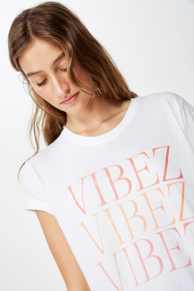 Classic Slogan T Shirt, VIBEZ/WHITE