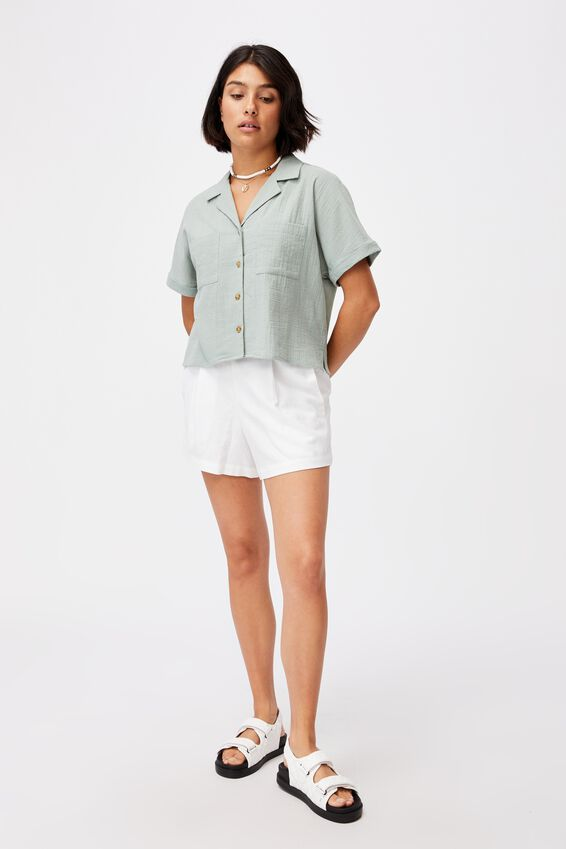 Erika Short Sleeve Shirt, LUSH GREEN