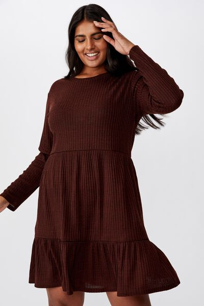 Curve Baby Doll Dress, LAURA CHECK CHOCOLATE