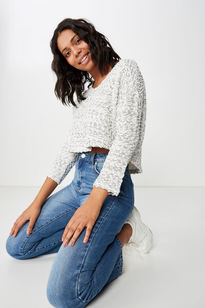 Stacey Long Sleeve Texture Top, GARDENIA