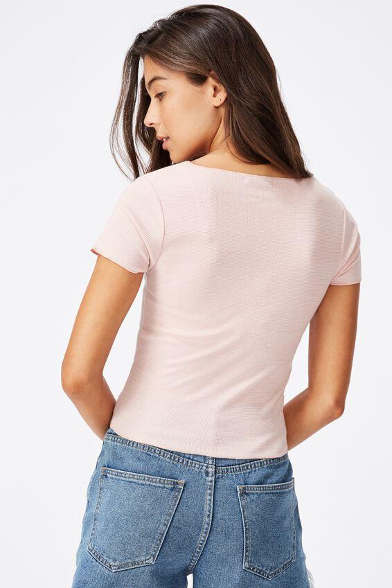Arden Raw Edge V Neck Short Sleeve Top, MINI STRIPE GARDENIA/ROSE MUSK