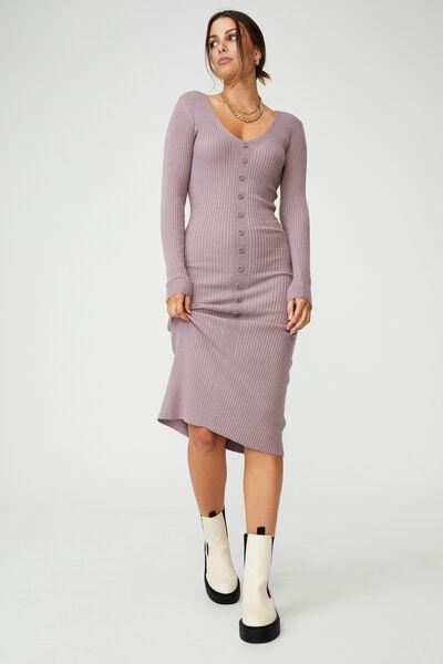 Tommy Long Sleeve Button Through Knit Midi Dress, SOFT MAUVE