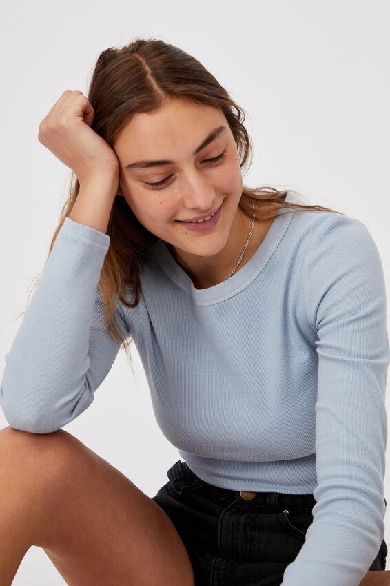 The Turn Back Long Sleeve Top, WASHED BLUE