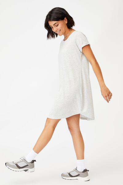 Tina Tshirt Dress 2, LIGHT GREY MARLE