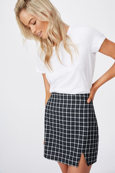 Oak Check Mini Skirt, LEXI CHECK BLACK
