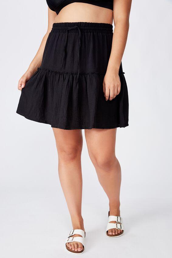 Curve Ruffle Tiered Beach Skirt, BLACK