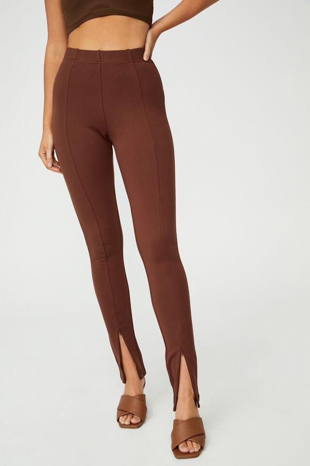Zip Front Ponte Legging, CHOCOLATE BROWN