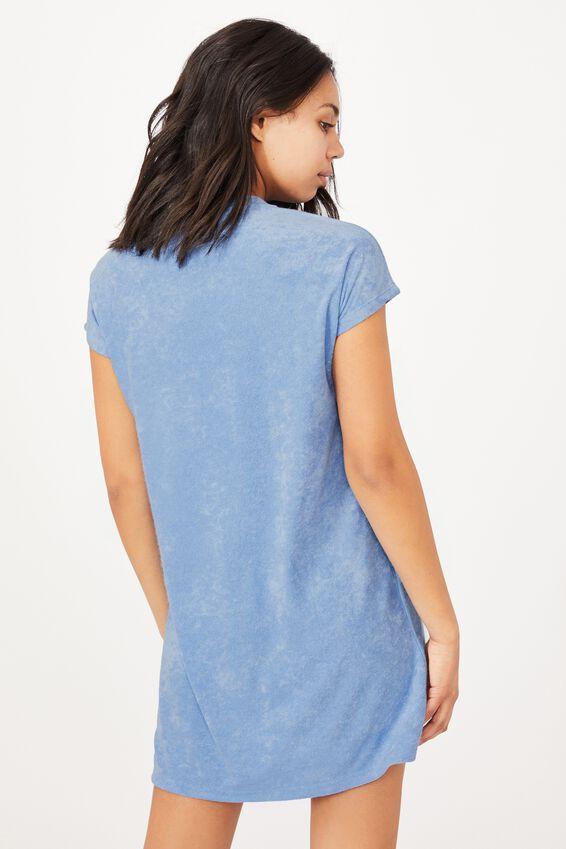 Terry Tshirt Dress, POOLSIDE BLUE