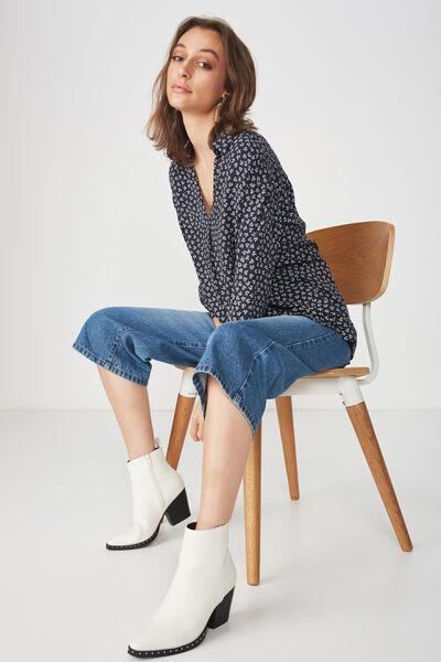 Lexie Popover Shirt, JESSIE DITSY NAVY