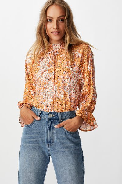 Lily Shirred Mock Neck 3/4 Frill Sleeve Blouse, MANDY MULTI DITSY DUSTED CLAY
