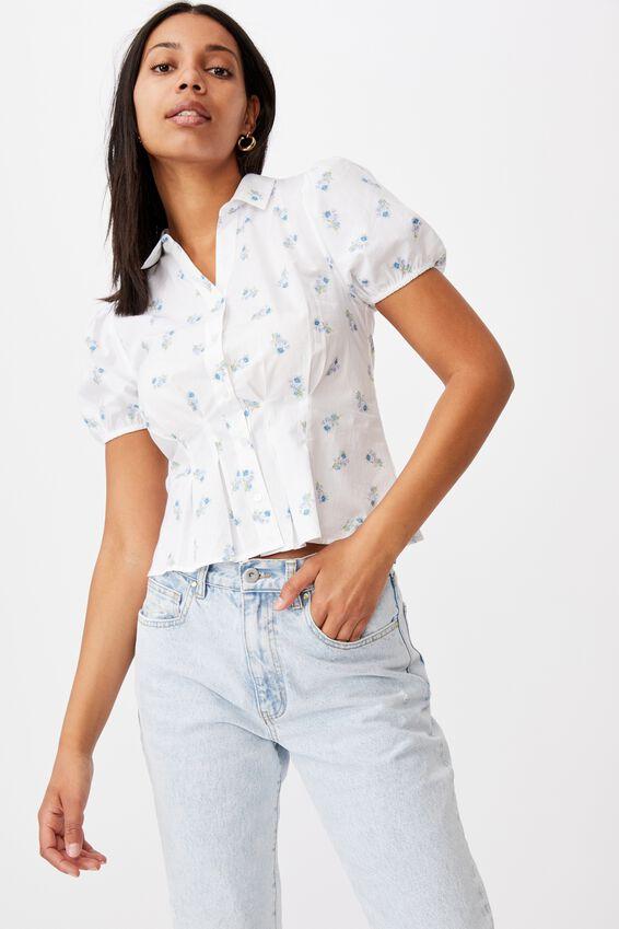 Lila Puff Sleeve Shirt, ARABELLA FLORAL WINTER WHITE MINI