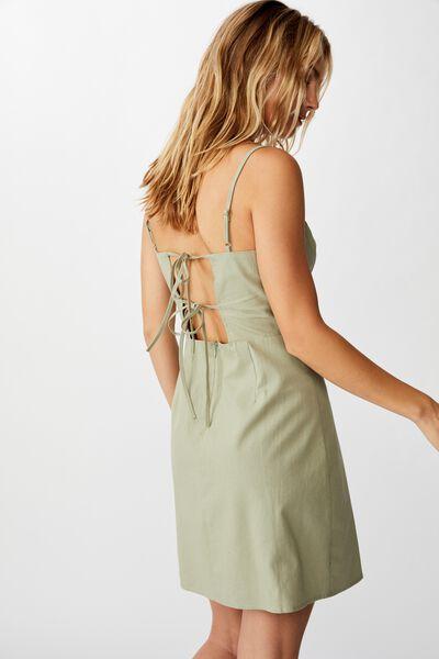 Woven Renee Strappy Mini Dress, TEA