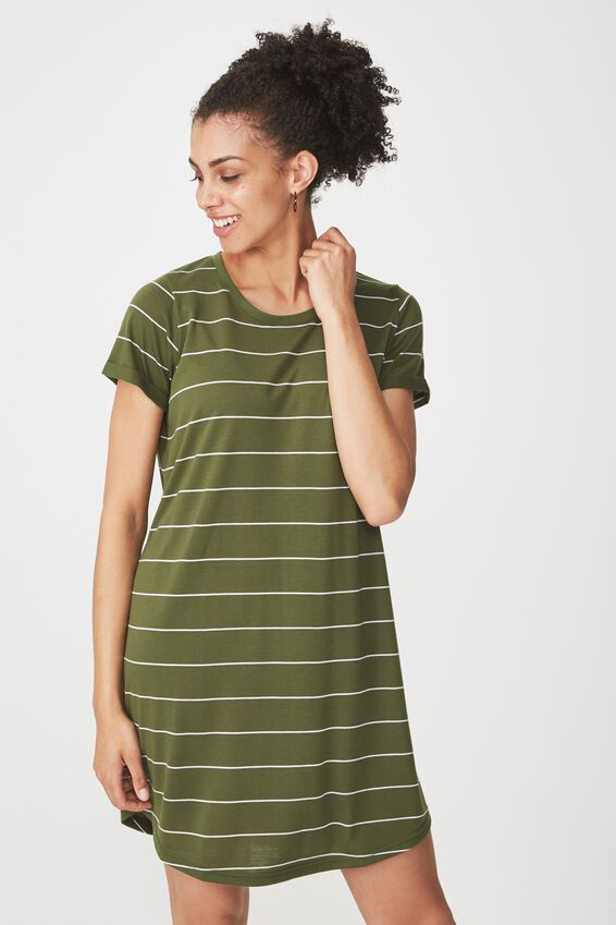 Tina Tshirt Dress 2, ABBY STRIPE CYPRESS