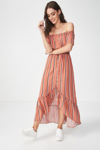Woven Willa Off The Shoulder Dress, GEMA STRIPE COPPER BROWN