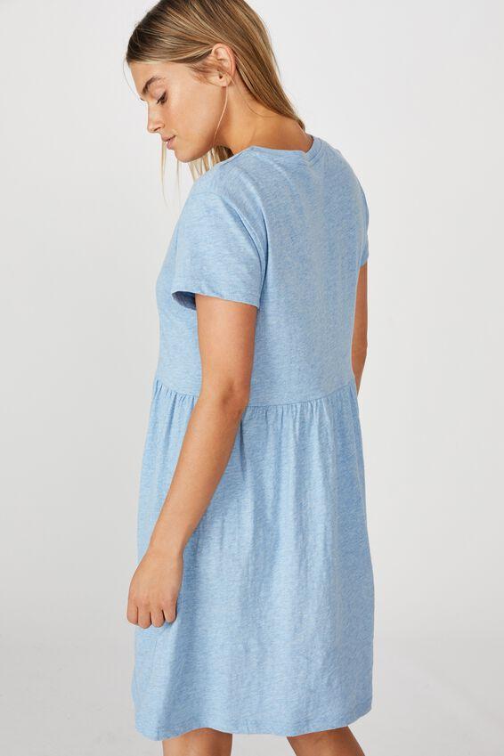Tina Babydoll Tshirt Dress, CHAMBRAY BLUE MARLE