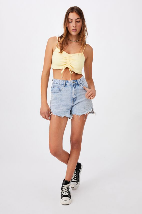 Coco Draw String Rouched Cami, LEMON