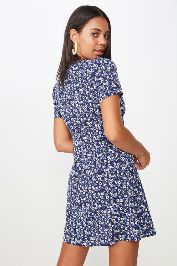 Woven Dotti Deep V Puff Sleeve Mini Dress, ERIN DITSY FLORAL NAVY/BUTTONS