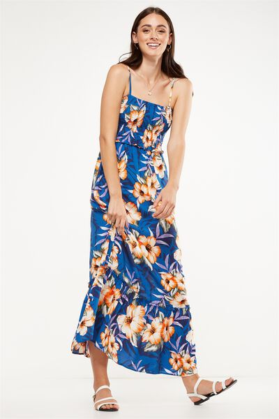 Woven Miranda Shirred Strappy Maxi Dress, ILANA FLORAL CLASSIC BLUE