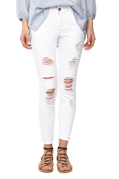 Mid Rise Cropped Skinny Jean, WHITE EXTREME RIPS