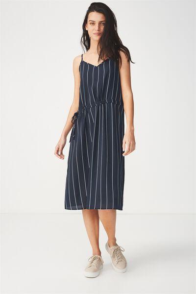 Woven Mimi Rouched Midi Dress, SAXXY STRIPE NAVY