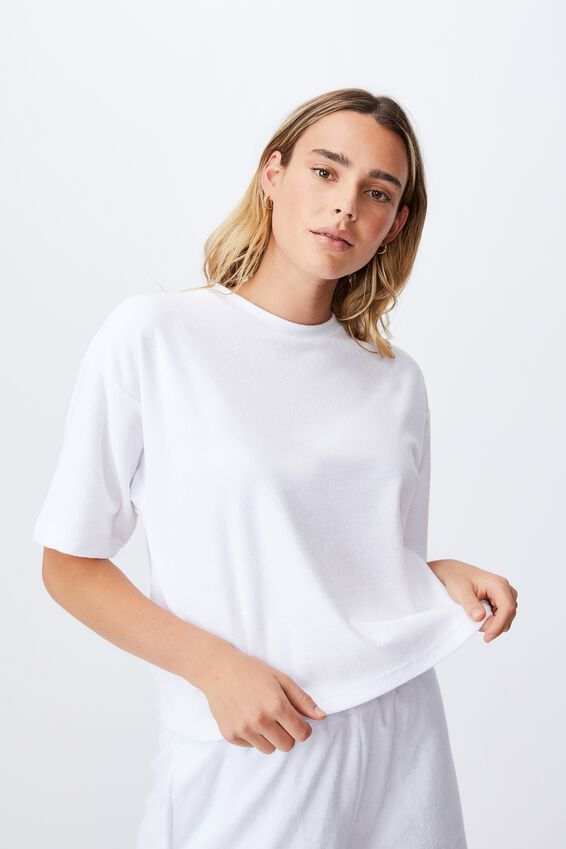 Terry Towelling Boxy Tee, WHITE