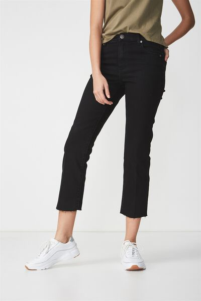 Mid Rise Straight Crop Stretch Jean, PRESSED SOLID BLACK